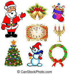 set with Santa Claus and a Christmas tree with candles