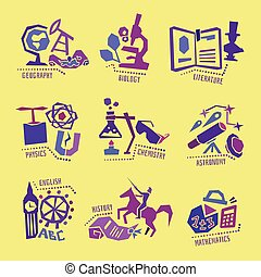 Set with school subjects icons for design. Vector