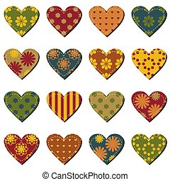 set with scrapbook hearts on white background