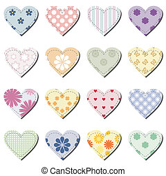set with scrapbook hearts