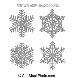 Set with snowflakes. Illustration in white and black colors.