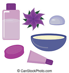 set with spa objects on white