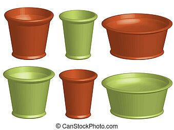 Set with standard flower pots in brown and green in different sizes.
