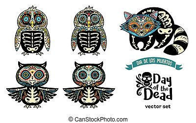 Set with sugar skull penguins, owls and raccoon