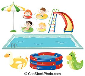 Set with swimming pool and kids swimming