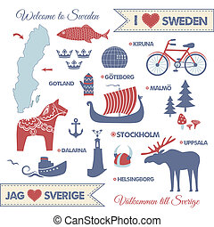 Vector set with design elements of symbols of Sweden and map