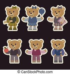 Set with teddy bears.