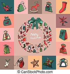 Set with traditional Christmas elements. For festive design, announcements, postcards, posters.