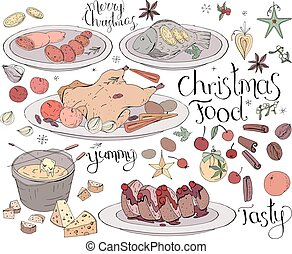 Set with traditional Christmas food isolated on white. Soft color, lettering phrases included.