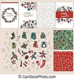 Set with traditional Christmas templates