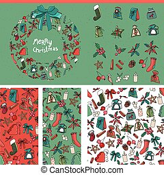 Set with traditional Christmas templates