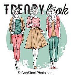 set with trendy girls