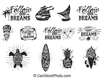 Set with typography posters, lettering inside the Hand drawn illustrations of isolated black silhouette on a white background with ink splashes. The inscription motivation quotes