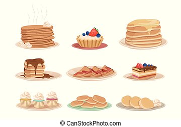 Set with various sweet desserts stack of pancakes, cupcakes, cake, fritters and tartelette. Tasty breakfast. Flat vector design for pastry shop, recipe book or menu