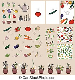 Set with vegetables, garden tools and equipment.