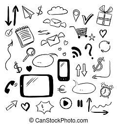 Set with web doodles