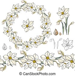Set with white daffodils on white.