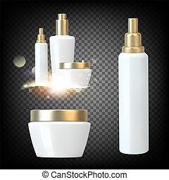 Set with white spray bottles on black transparent background. Plastic bottle of shampoo. Hair collagen spray.