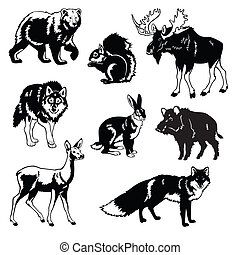 set with wild animals of european forest, black and white ...