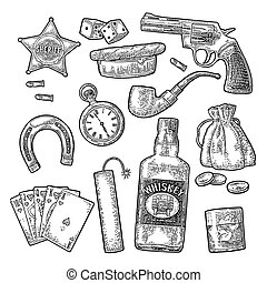 Set with Wild West and casino symbols. Vector vintage engraving