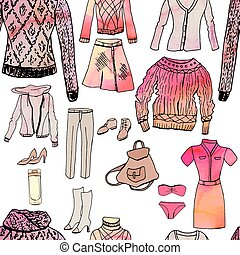 Set with woman casual and sport clothes, watercolor effect. Red and grey color, black contour, objects on white