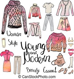 Set with woman casual and sport clothes, watercolor effect. Red and grey color,black contour, objects on white
