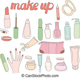 Set with woman cosmetics. Objects on white.