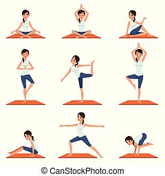 Set with young girl in different poses of yoga. Beautiful woman doing physical exercises. Flat vector design isolated on white.