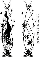set witn egret and flowers - set of vector vertical dividers...