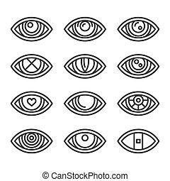 set, witte , vector, achtergrond., iconen, oog, stijl, lijn