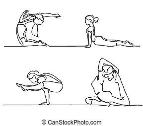outline yoga woman set set of yoga poses line silhouette