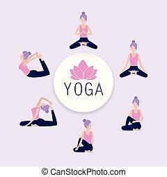 set woman practice yoga balance