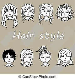 Set woman with beautiful hair style, vector.