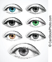 Set women eyes made from dots. Vector