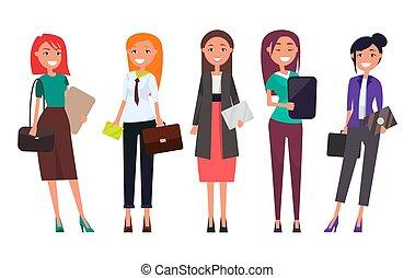 Set Women in Formal Wear with Laptops Envelopes - Set women...