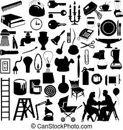set, woning, illustratie, silhouettes, vector, subjects.