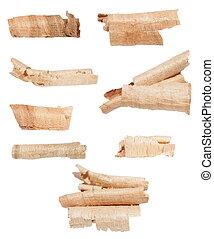 set wood shavings isolated on white