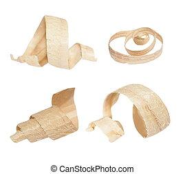 set wood shavings isolated on white background, with...