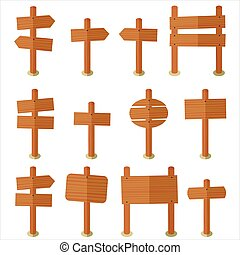 Set wood sign vector
