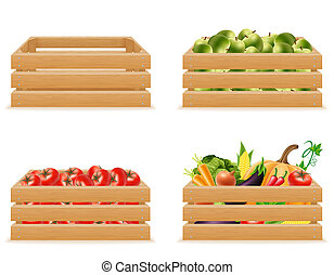 set wooden box with fresh and healthy vegetables illustration