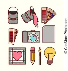 set work elements for graphic design on white background