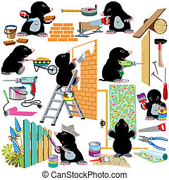 set with cartoon mole working home renovation, isolated pictures for little kids