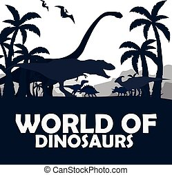 Set World of dinosaurs. Prehistoric world. T-rex,...