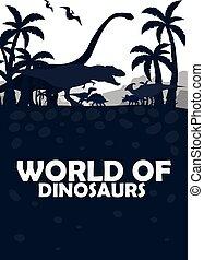 Set World of dinosaurs. Prehistoric world. T-rex, Diplodocus, Velociraptor, Parasaurolophus, Stegosaurus, Triceratops. Cretaceous period. Jurassic period.