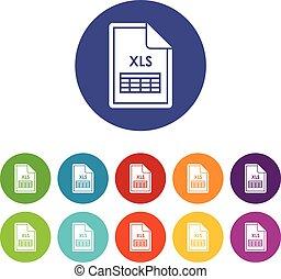 Set,  xls, bestand, iconen