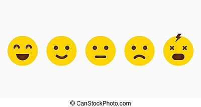 Set yellow emoji with different emotions. Feedback emoticon. Smile icon. Vector