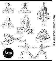 set, yoga, coppia, nero, bianco, cartone animato
