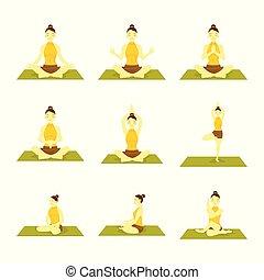 set, yoga houding, seated, gevarieerd, illustratie, meditatie