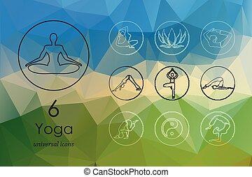 set, yoga, icone