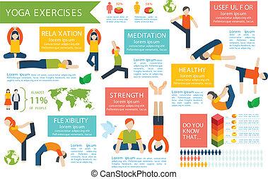 set, yoga, infographics